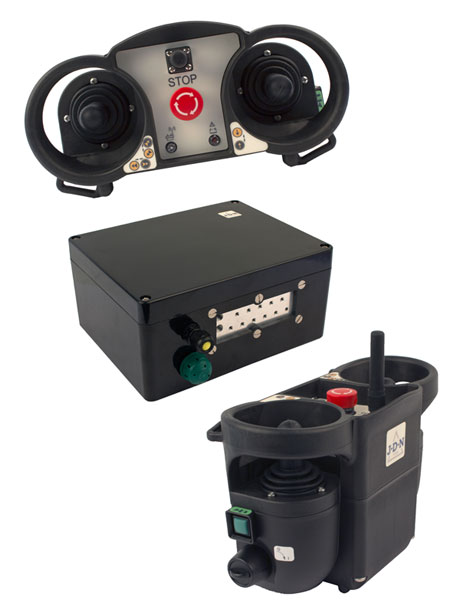 The J D Neuhaus receiver and RC-X radio control remote control transmitters and receiver, for safe hoist and crane control.