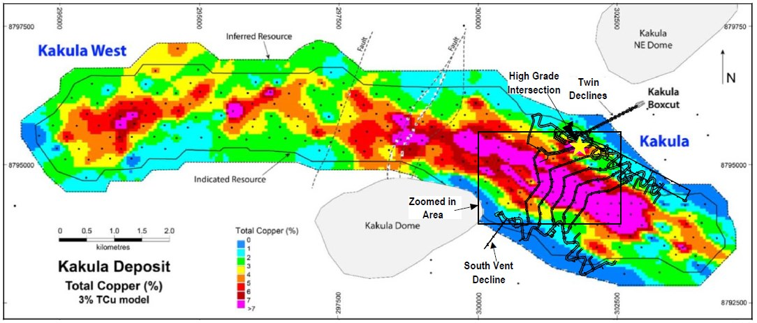 Figure 1: The 13.3-kilometre-long Kakula Deposit showing the first five years of underground development and production focused on the pink area containing copper grades greater than 8% copper. Zoomed-in area is shown in Figure 2.