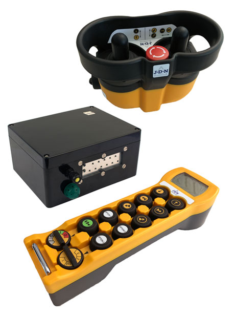 The RC-S and RC-SP radio control remote control transmitters and receiver from J D Neuhaus, for the safe and convenient control of hoists and cranes.