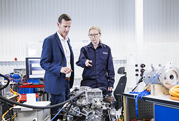 Volvo Penta's chief technology officer, Johan Carlsson, and system engineer, Karin Åkman, discuss innovation for electromobility at the company's new development-and-test laboratory in Gothenburg.