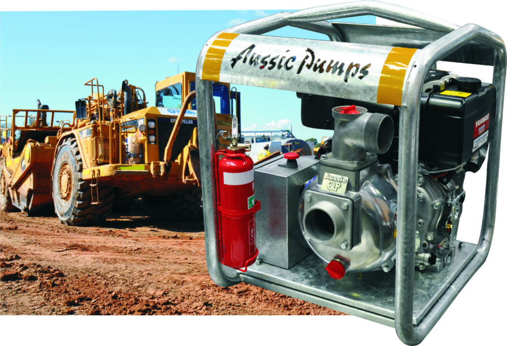 Be prepared for fire emergencies with Aussie's Mr T fire pump.  The Mine Boss version includes integrated fire extinguisher, emergency stop and more!