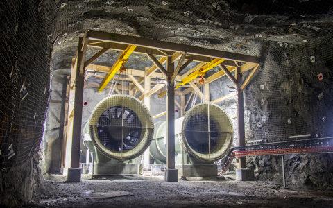 Underground ventilation fans at Newmont 's Subika mine in Ghana