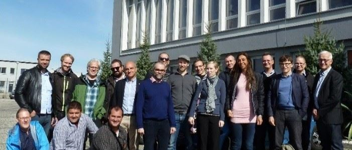 Members of the consortium on a visit to Kęty in Poland to learn about the development of ore dressing equipment at a demonstration event hosted by Comex
