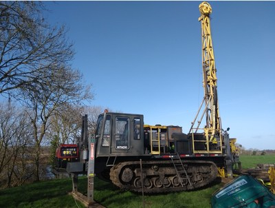 Drill rig sited over drill hole 11-3643-10 and ready to be extended by 200-250 metres to test the mineralized target zone at the base of the Waulsortian limestone. A lovely winter's day in Ireland!