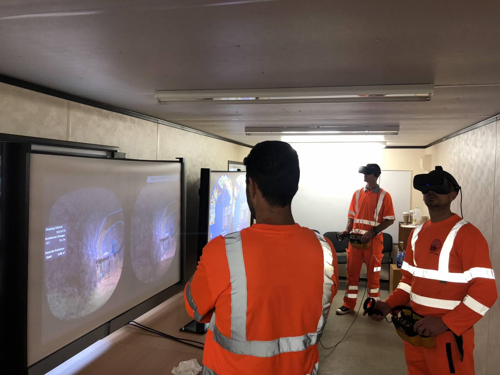Tunnel operators training with Edvirt's product the VR Shotcrete Simulator_2